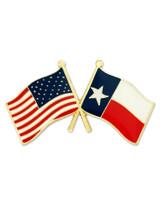 Texas and USA Crossed Flag Pin