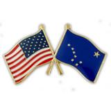 Alaska and USA Crossed Flag Pin