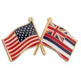 Hawaii and USA Crossed Flag Pin