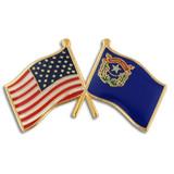 Nevada and USA Crossed Flag Pin