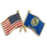 Oklahoma and USA Crossed Flag Pin
