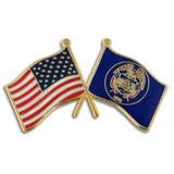 Utah and USA Crossed Flag Pin