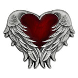 Heart with Angel Wings Pin - Antique Nickel