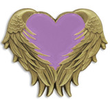 Lavender Heart With Wings Pin