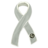 Grey Ribbon with Stone Pin