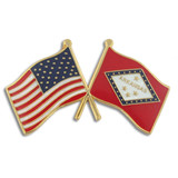 Arkansas and USA Crossed Flag Pin
