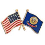 Idaho and USA Crossed Flag Pin