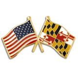 Maryland and USA Crossed Flag Pin