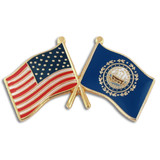 New Hampshire and USA Crossed Flag Pin