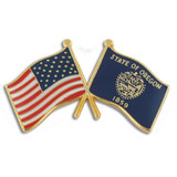 Oregon and USA Crossed Flag Pin
