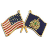 Vermont and USA Crossed Flag Pin