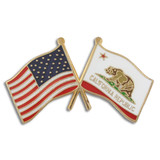 California and USA Crossed Flag Pin