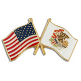 Illinois and USA Crossed Flag Pin