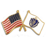 Massachusetts and USA Crossed Flag Pin