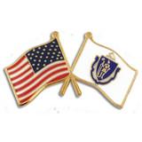 Massachusetts and USA Crossed Flag Pin