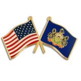 Pennsylvania and USA Crossed Flag Pin