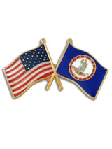 Virginia and USA Crossed Flag Pin