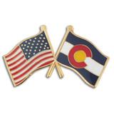Colorado and USA Crossed Flag Pin