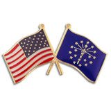 Indiana and USA Crossed Flag Pin