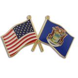 Michigan and USA Crossed Flag Pin