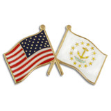 Rhode Island and USA Crossed Flag Pin