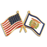 West Virginia and USA Crossed Flag Pin