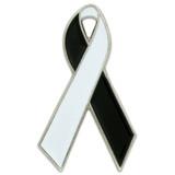 White and Black Awareness Ribbon Pin