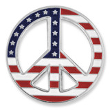 American Flag Peace Sign Pin