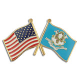 Connecticut and USA Crossed Flag Pin