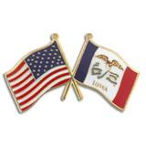 Iowa and USA Crossed Flag Pin