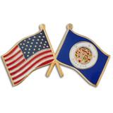 Minnesota and USA Crossed Flag Pin