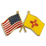 New Mexico and USA Crossed Flag Pin