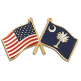 South Carolina and USA Crossed Flag Pin