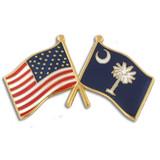 South Carolina and USA Crossed Flag Pin