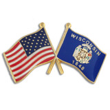 Wisconsin and USA Crossed Flag Pin