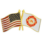 Fire Department and American Flag Lapel Pin