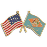 Delaware and USA Crossed Flag Pin