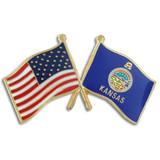 Kansas and USA Crossed Flag Pin