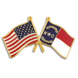 North Carolina and USA Crossed Flag Pin