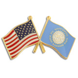 South Dakota and USA Crossed Flag Pin