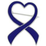 Blue Heart Ribbon Brooch - BOGO