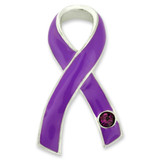 Purple Ribbon with Stone Pin