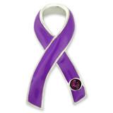 Purple Ribbon with Stone Pin - BOGO