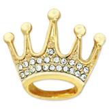 Gold Plated Rhinestone Crown Pin