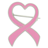 Pink Heart Ribbon Brooch