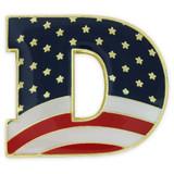 """Democrat """"D"""" Flag Pin"""