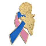 Pink and Blue Ribbon Angel Pin