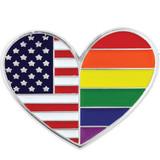 Gay Pride USA Heart Pin