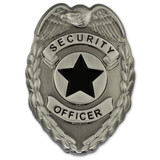 Security Officer Badge Lapel Pin - Antique Silver