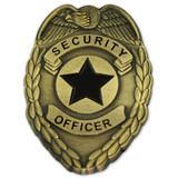 Security Officer Badge Lapel Pin - Antique Gold